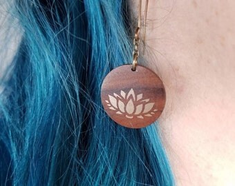 Wood earrings with Bronze Lotus Inlay -