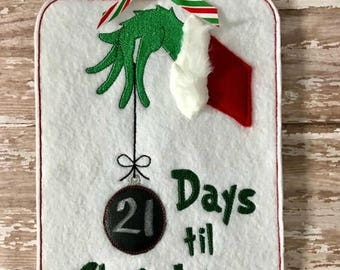 Days til Christmas Count Down Board Machine Embroidery Design 4x4 5x7 6x10 Digital Download Chalkboard Clear Vinyl Grinch Ornament