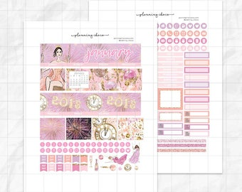January A printable planner stickers /EC monthly kit / ECLP / pdf, jpg, cut files/happy new year
