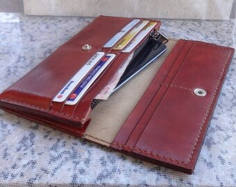 Handmade Long Wallet Handstitched Vegetable Tanned Full Grain Turkish Leather