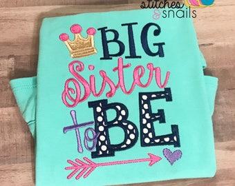 Big Sister To Be Applique Shirt