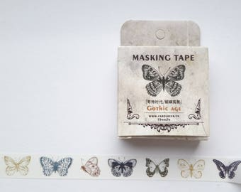 butterfly washi tape, gothic butterflies washi tape, washi, butterfly washi, 15 mm x  7 m, gothic washi tape, scrapbooking, craft supplies,