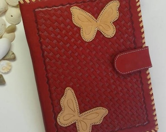 JW RED BUTTERFLIES Preaching Organizer. Genuine Leather Hand Tooled.Case for Tablet, Ipad and Tools for Ministries and More. Red & Beige
