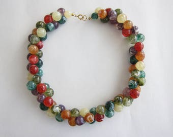 Crew neck 1960 tutti frutti multicolored lucite beads. Rare