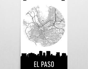 El Paso Skyline, El Paso Map, El Paso Skyline Art, El Paso Canvas Art, El Paso City Map, El Paso TX, El Paso Texas, El Paso Print, Poster