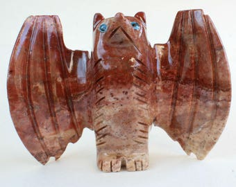 Stone Carving Bat Carved Soapstone Large Stone Bat Stone Animals