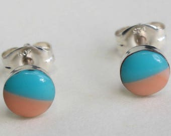 Sterling Silver Studs Turquoise and Pink Coral Earrings Zuni Indian Native American Small Tiny Inlay Inlaid