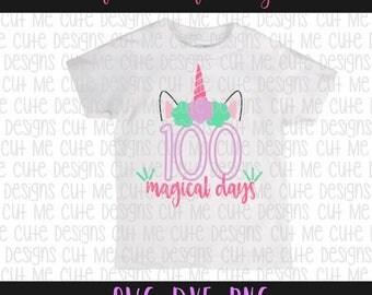 SVG DXF PNG cut file cricut silhouette cameo scrap booking 100 Magical Days of School Unicorn