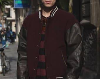 Vintage Wool & Leather Sleeves Varsity / College Cod.1-166
