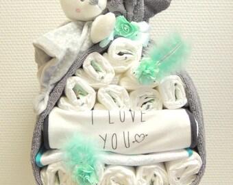 Pretty hearts birth gift diaper cake