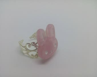 Pink kawaii Bunny filigree ring