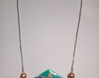 Mokume Gane technique lozenge necklace