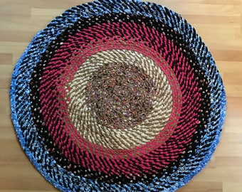 Colorful Handmade Braided Rag Rug