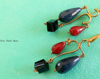 Bronze earrings with natural stones