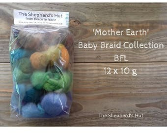 BFL Baby Braid Collection 'Mother Earth' 120 g  for spinning and fibre craft.No.2
