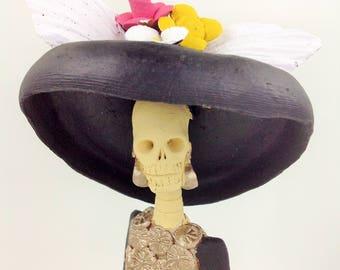 Dia de Los Muertos Day of the Dead La Catrina Figurine La Catrina Clay Figurine Mexican Folk