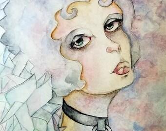 Shattered Pastels, Purple Girl, Pastel Goth Art Print