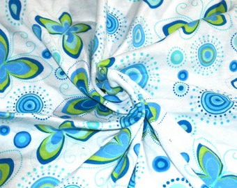 "White & Blue Butterfly Cotton Jersey Knit Fabric 58""Wide"