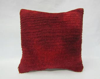 Red Turksih Kilim Pillow Cover,16x16 inches,40x40cm,Anatolian Turkish Kilim Pillow Cover