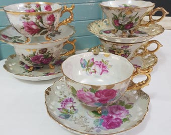 Splendid Japan Lustre Shabby Chic Vintage Tea Cups and Saucers Set Of Five.