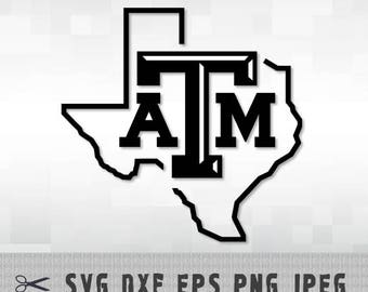 Texas A&M ATM Aggies University SVG PnG DXF Logo Cut File Silhouette Cameo Cricut Design Template Stencil Vinyl Decal Heat Transfer Iron on