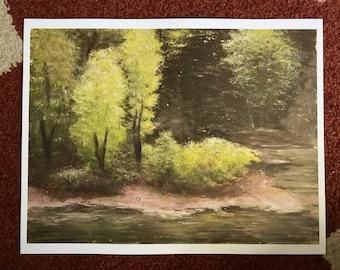Creek Painting. Print of Original Painting. Landscape Painting, Acrylic, Print, Creek, Riverbend, Woods, Trees.