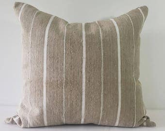 Ori - Beige and White Striped Vintage African Cloth Aso-Oke Pillow, High Quality Italian Linen Back Fabric, Mud Cloth Style