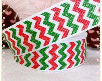 "3 yards 7/8"" Christmas ribbon, glitter chevron ribbon, Christmas chevron ribbon, glitter ribbon, red white and green chevron ribbon"