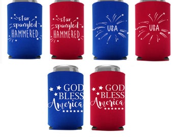 4th of July Can Coolers | BBQ July 4th Coolers | Independence Day Can Coolers | ON SALE