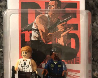 Die hard custom made mini figure John Mc Clain & Sgt.  Al Powell  movie version  some models built OF LEGO® BRICKS A good day To Die Hard