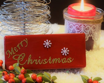 Merry Christmas Wooden Block Decoration -Gloss Red with Gold Glitter Lettering and Snowflake Decoration