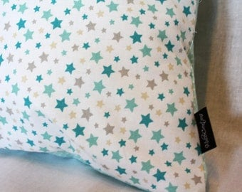 Mint Stars Handmade Pillow cover with pillow insert included