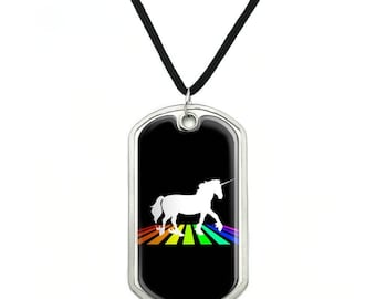 Unicorn Crossing Rainbow Military Dog Tag Pendant Necklace with Cord