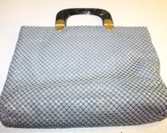 Vintage Gray Aluminum Mesh Purse with Marbeled Lucite Handles