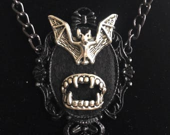 Necklace or pendant for a vampire with bat and fangs, Dance of the vampires inspired