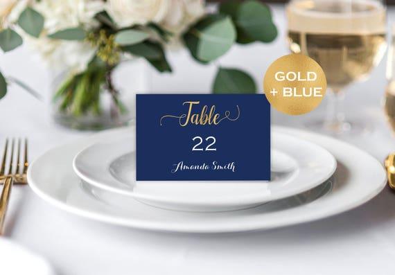 Navy and gold wedding place cards