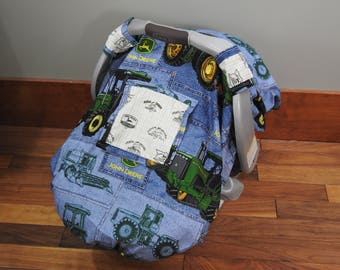Car Seat Cover, Canopy, Boy, Snug Fit, Window, John Deere, Tractor, Farm, Blue, Green, Ranch
