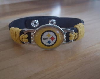 Pittsburgh Steelers Bracelet leather cuff cowboys NFL football terrible towel