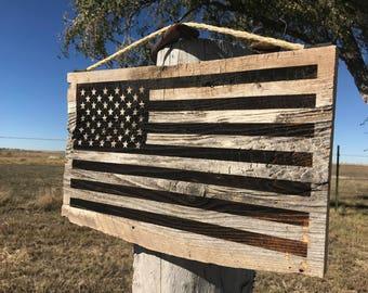 Rustic Barn Wood USA Flag