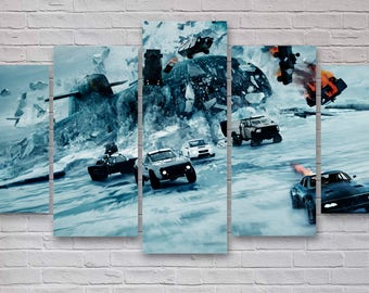 Fast and Furious Movie Canvas, Fate of the Furious, Fast 8 Wall Art, 5 Piece Movie Canvas, Home Decor, Office Decor, Bedroom Decor #120