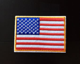 """America USA National Flag Iron on Embroidered patch (2""""-2.75"""")"""
