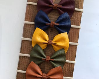 Fall Autumn Faux Leather Bow Mustard - Navy - Merlot - Brown - Olive