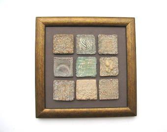 Ceramic Wall sculpture - Ceramic Wall Art – Small Ceramic Tiles Framed – Decorative Ceramics – Contemporary Patina Ceramics History Inspired