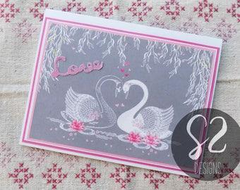 Handmade Swan Valentine Card