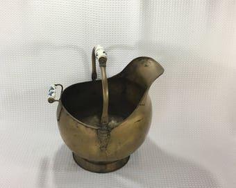 Antique Brass Lion Head Coal Fireplace Ash Scuttle Bucket Delft Handles