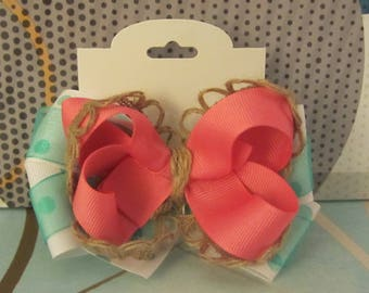 Moana inspired hair bow with clip