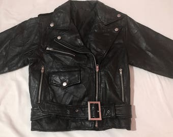 On SALE! RARE Vintage 1980's CHIA femme black leather moto jacket punk mod cropped belted tiny fit greaser biker motorcycle coat xs