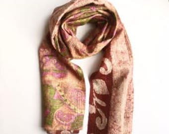 Upcycled, reversible, one-of-a-kind Kantha Sari Scarf - Pink/Brown