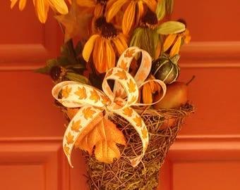 Fall floral door basket
