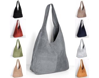 Leather shopper handbag bag by ImiLoa grey, brown, red, beige, black, darkblue, suede-leather handbags shoulder bags